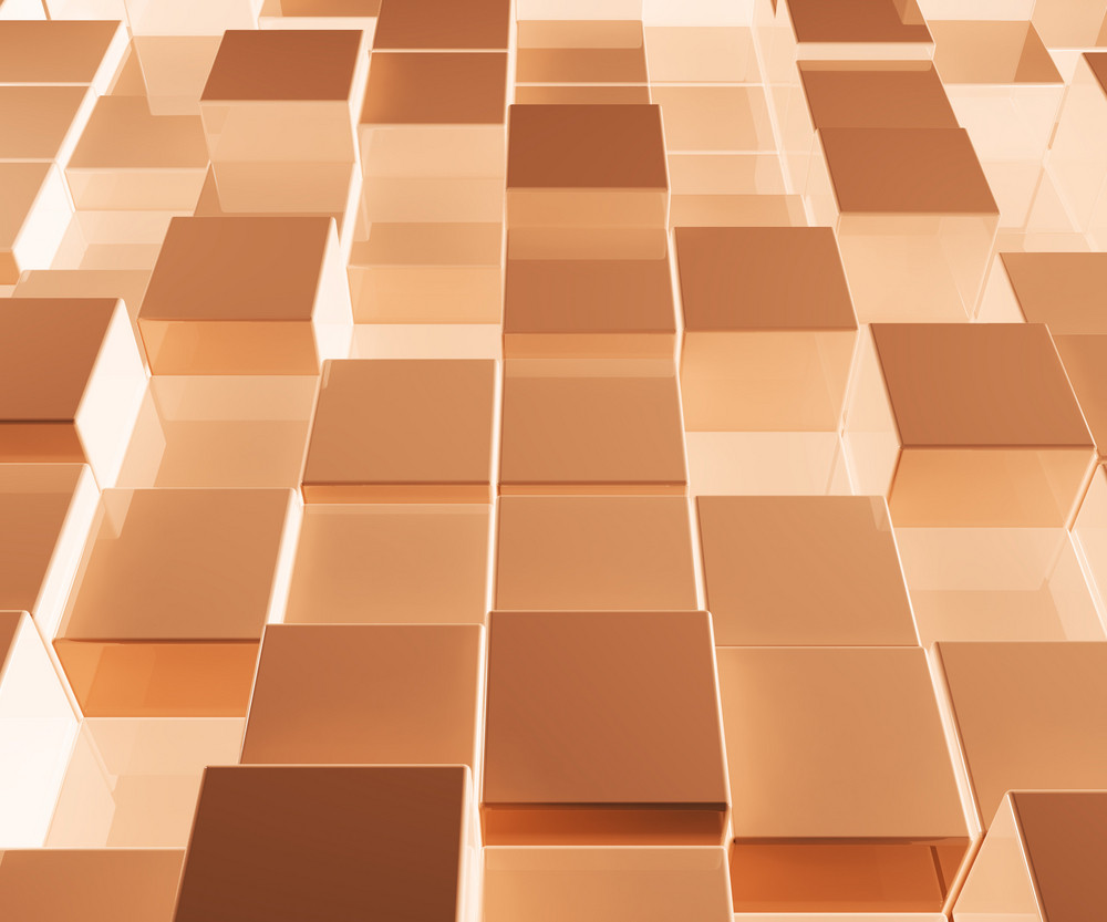 Bright Glowing Brown Glass Background With Artistic Cubes Or Squares