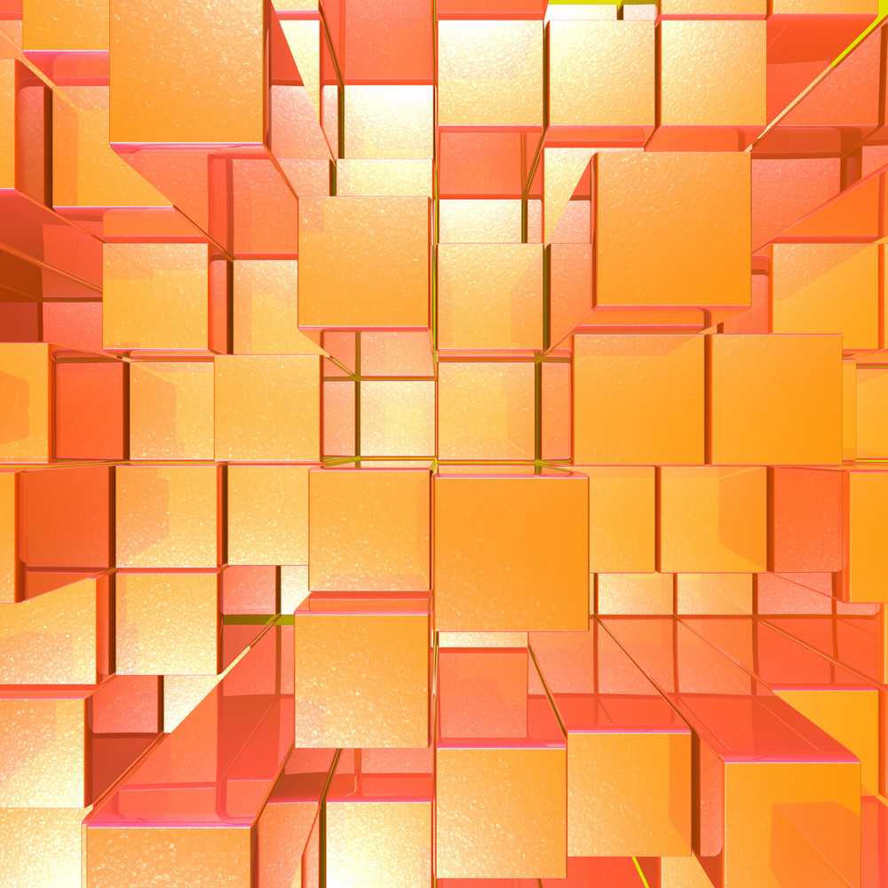 Bright Glowing Red And Orange Background With Artistic Cubes Or Squares