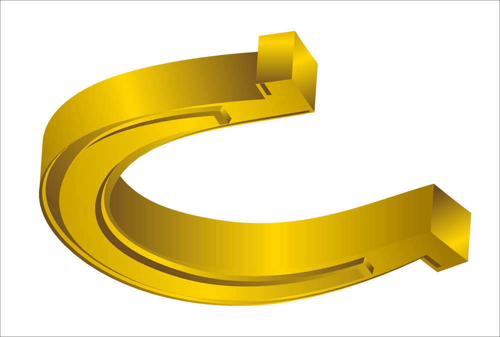 Bright Golden 3d Horseshoe Design