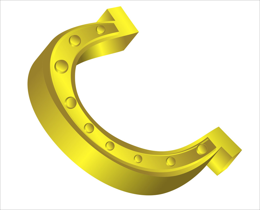 Bright Golden Horseshoe Design Element