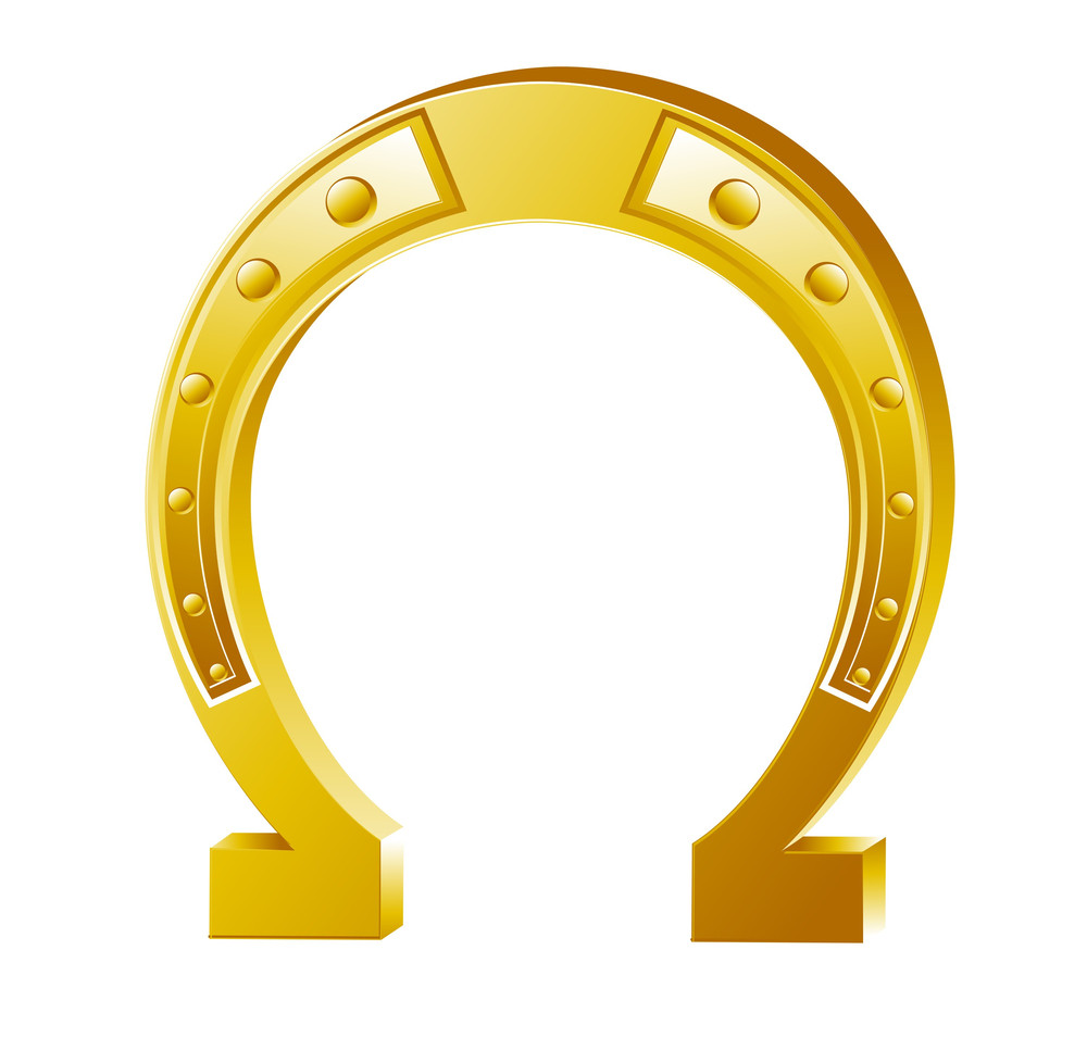 Bright Golden Horseshoe Element Vector