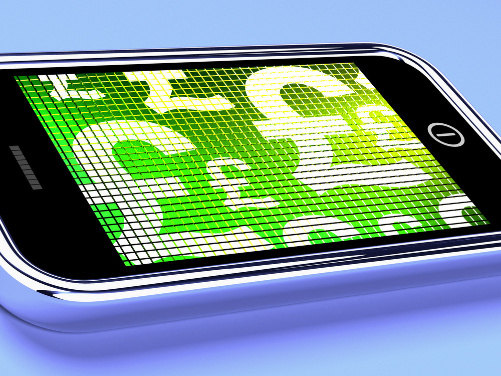 British Pounds Signs On A Mobile Phone Screen