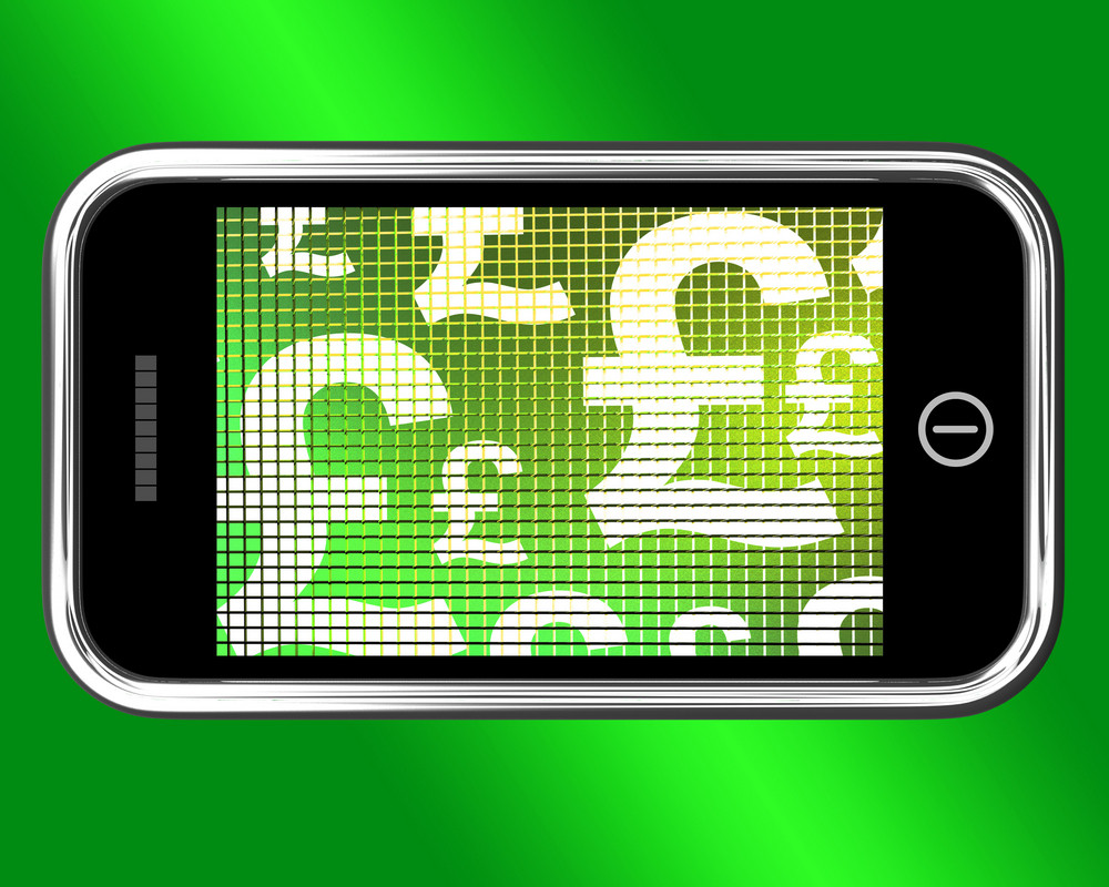 British Pounds Signs On Mobile Phone Screen Royalty Free Stock Image