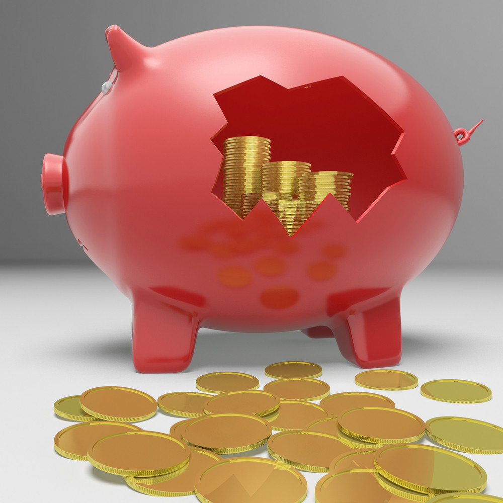 Broken Piggybank Showing Financial Savings