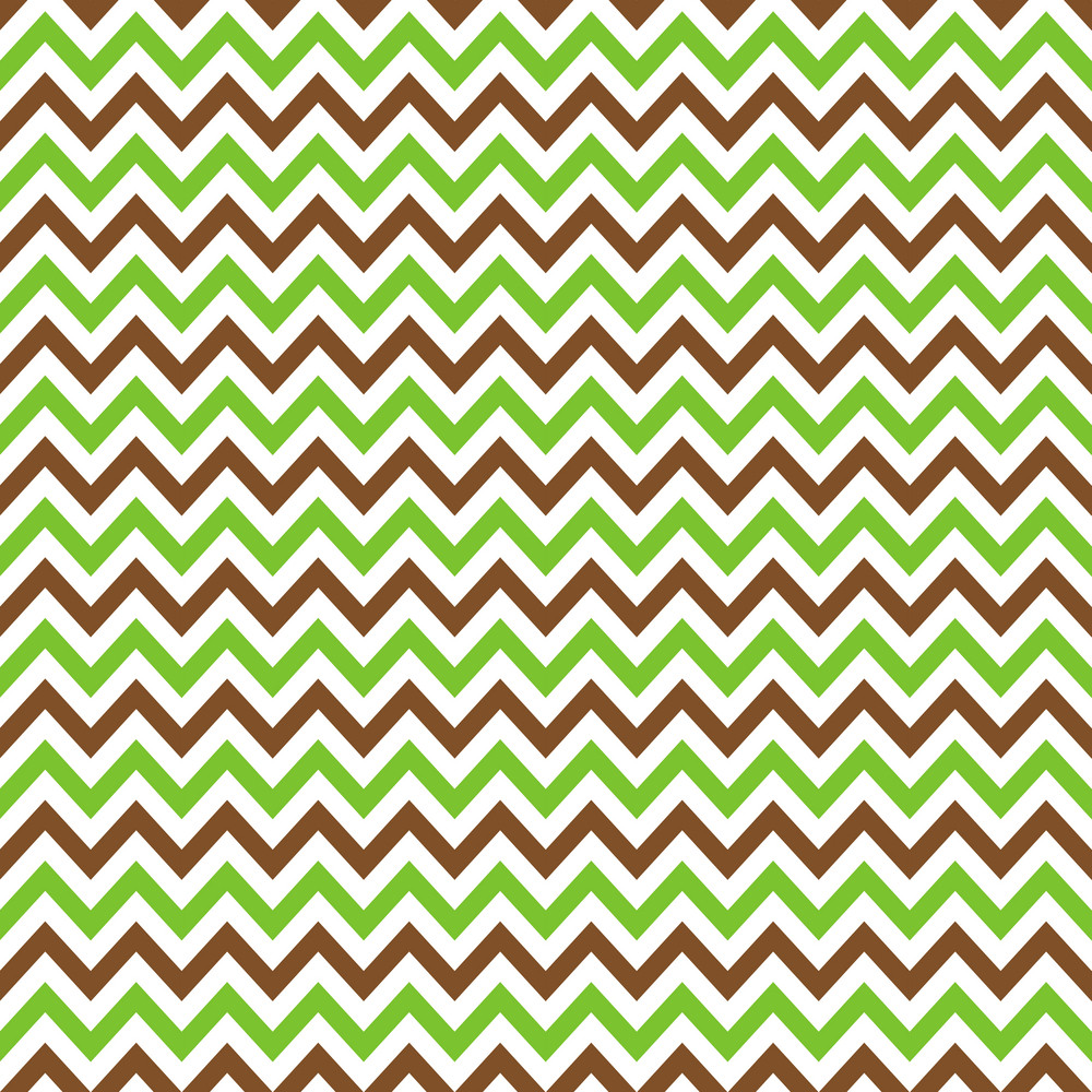 Brown, Green And White Chevron Pattern