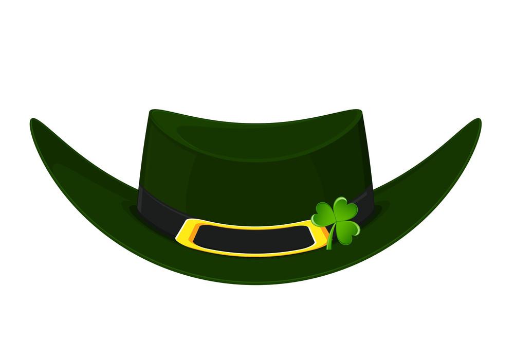 Brown Leprechaun Hat With Clover