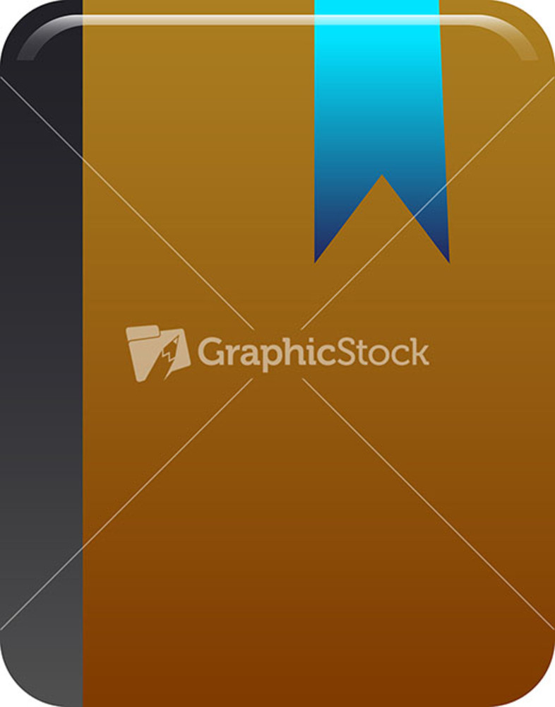 Brown Notebook Icon With Blue Bookmark On White Background