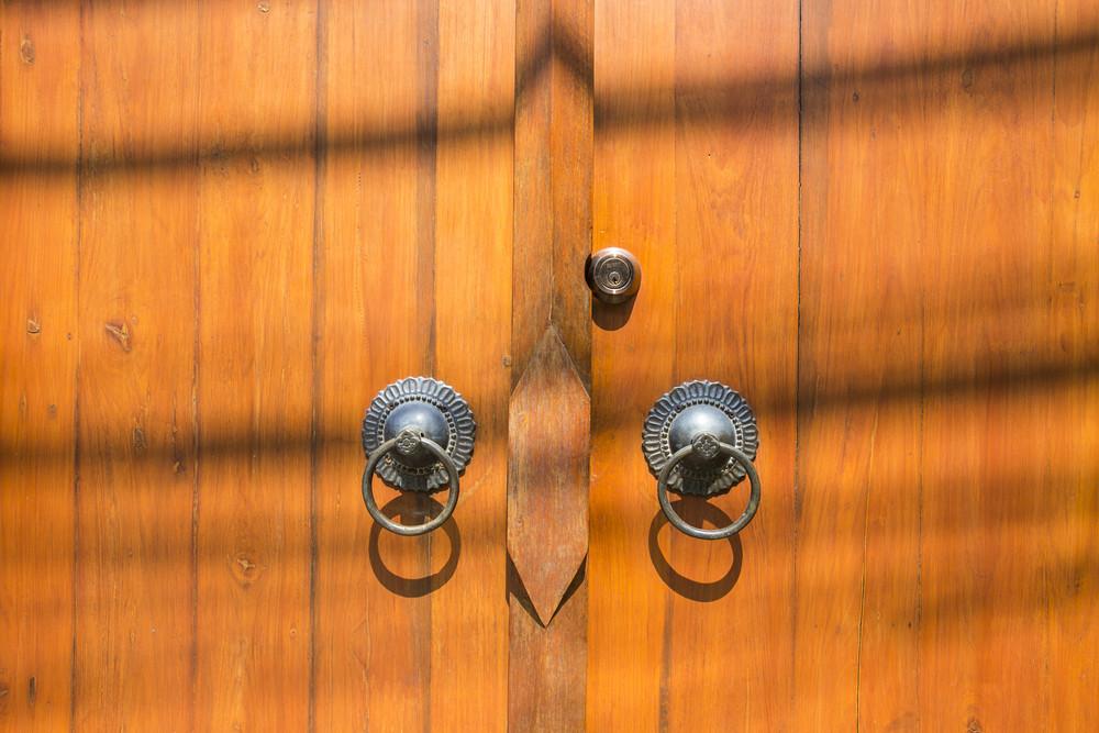 Brown wood door texture and background