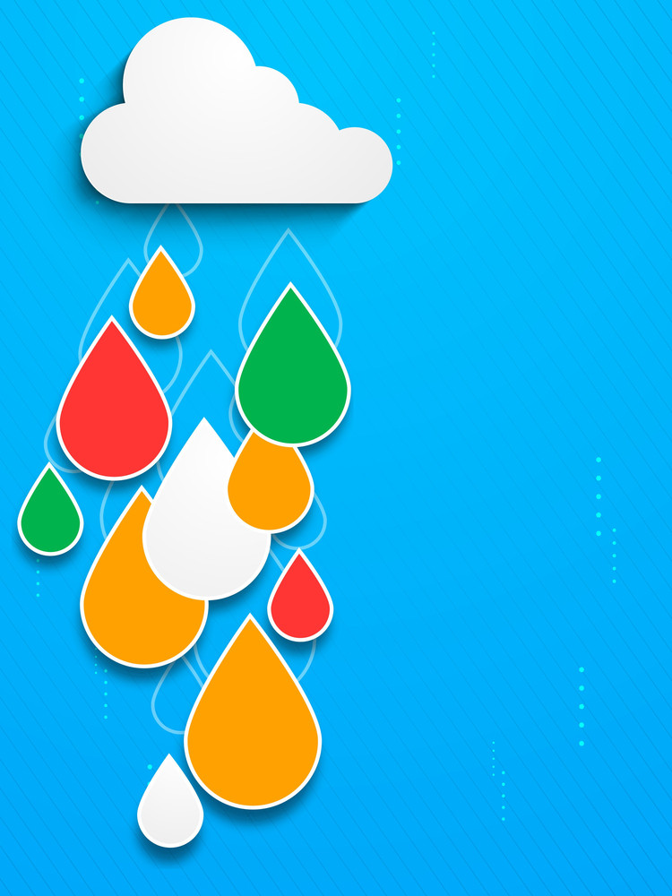 Bstract Rainy Season Background With Cloud And Colorful Water Drops