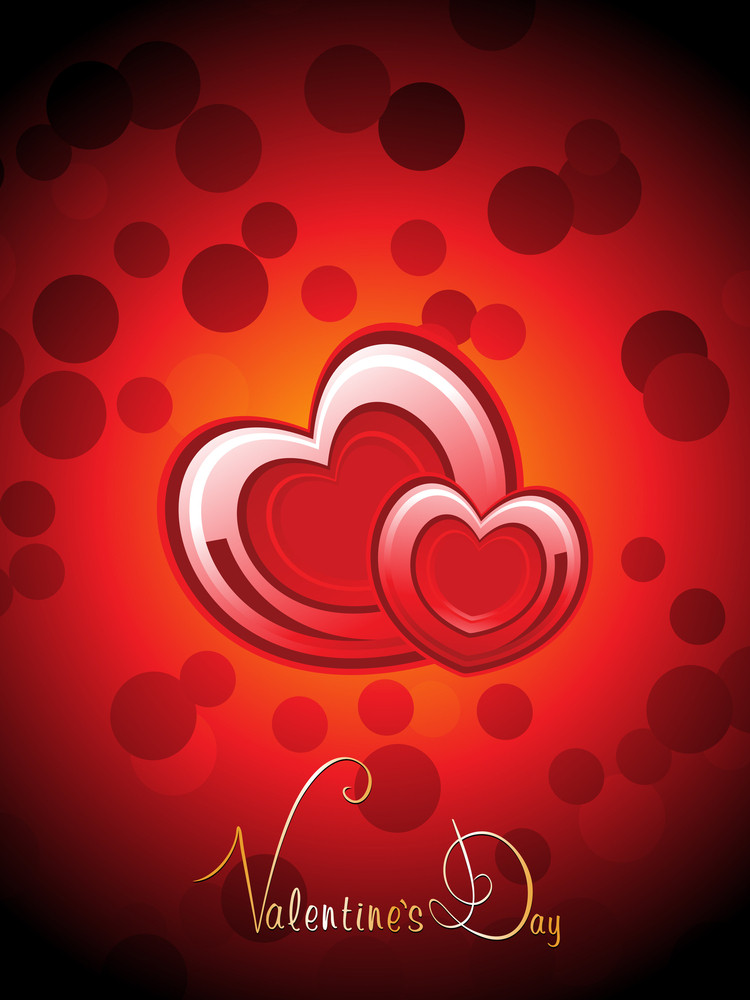 Bubble Background With Romantic Heart