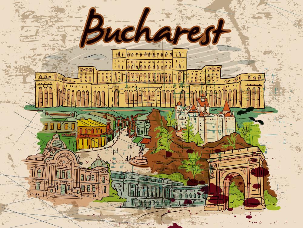 Bucharest Doodles With Grunge Vector Illustration