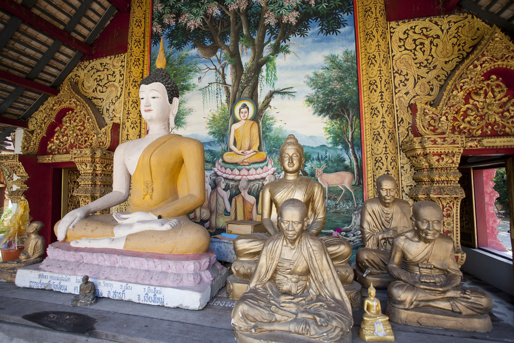 Buddha statue old in Thailand Chiang Mai