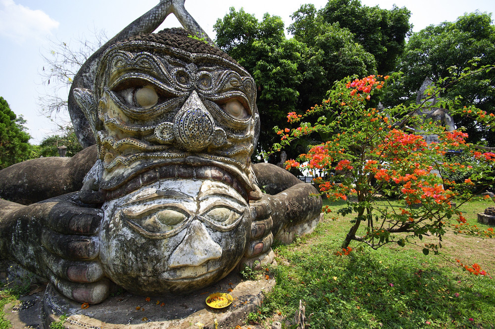 Buddha statues at the beautiful and bizarre buddha park in Vientiane/Laos.