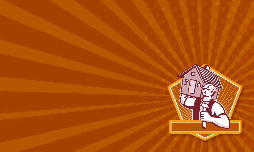 Builder Carpenter Carry House Retro