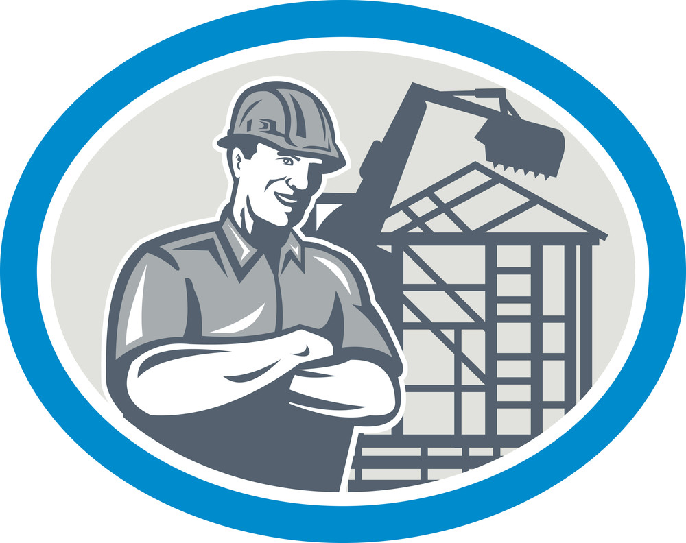 Builder Construction Worker Mechanical Digger Oval