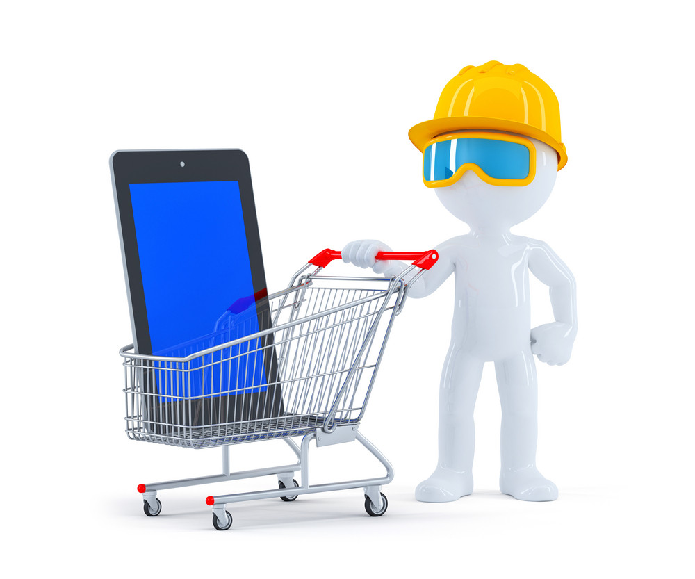Builder With Shopping Cart And Blank Screen Tablet