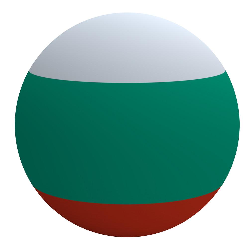 Bulgaria Flag On The Ball Isolated On White.