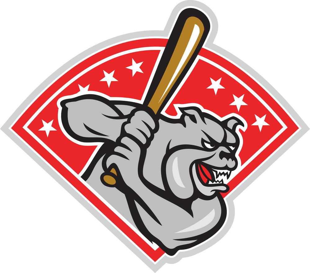 Bulldog Baseball Hitter Batting Cartoon