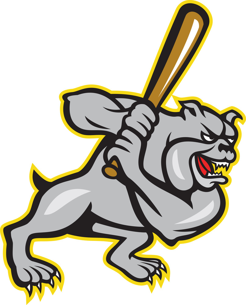 Bulldog Dog Baseball Hitter Batting Cartoon