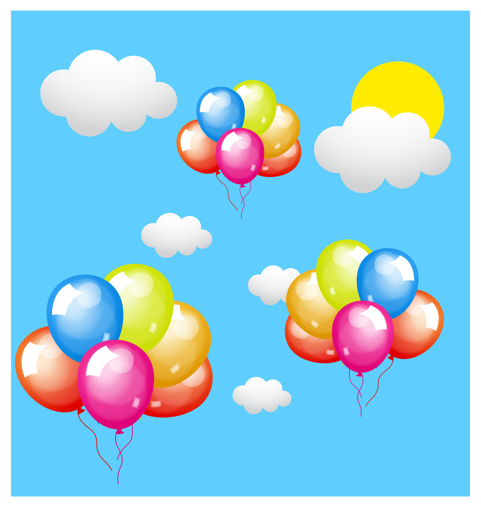 Bunch Of Colorful Balloons Background