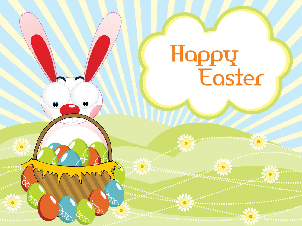 Bunny Holding Colorful Egg Basket