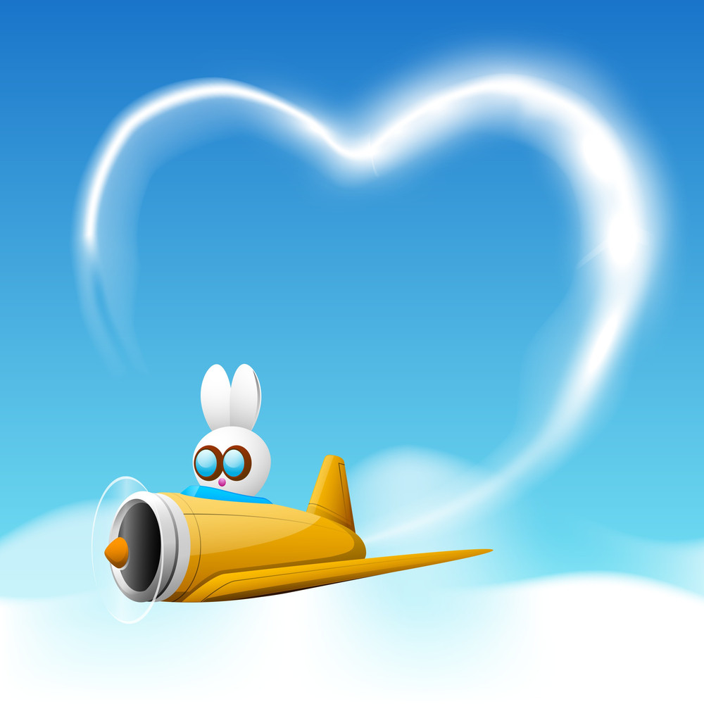 Bunny In Plane And Heart