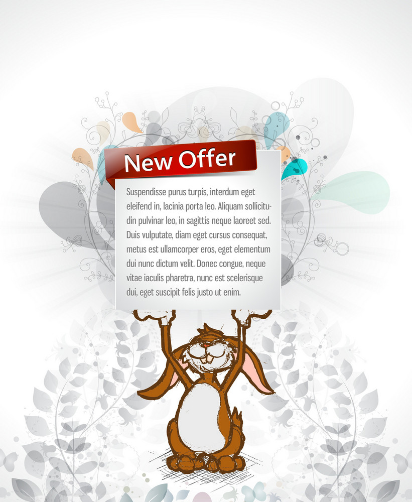 Bunny With Banner Vector Illustration