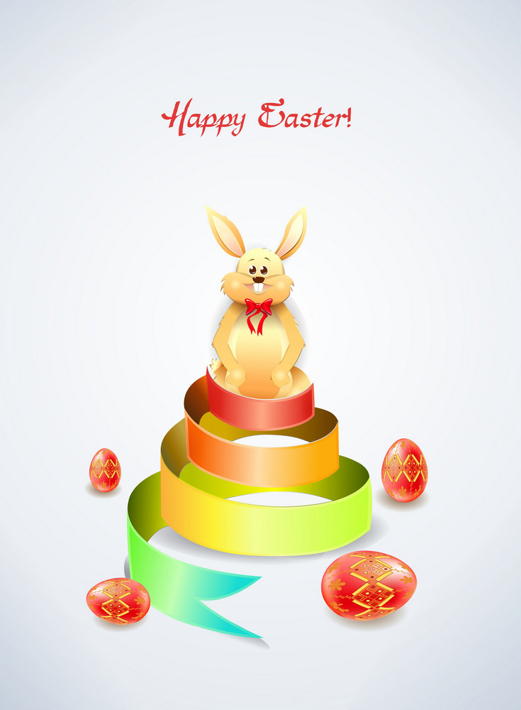 Bunny With Colorful Ribbon Vector Illustration