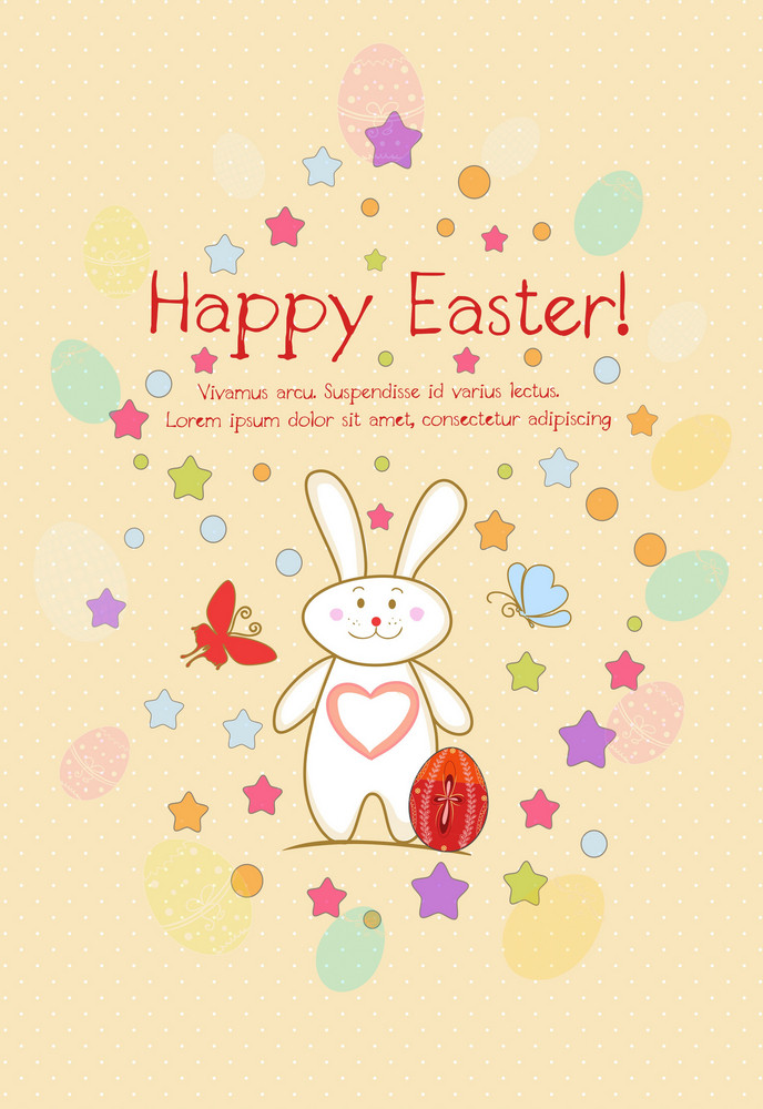 Bunny With Egg Vector Illustration