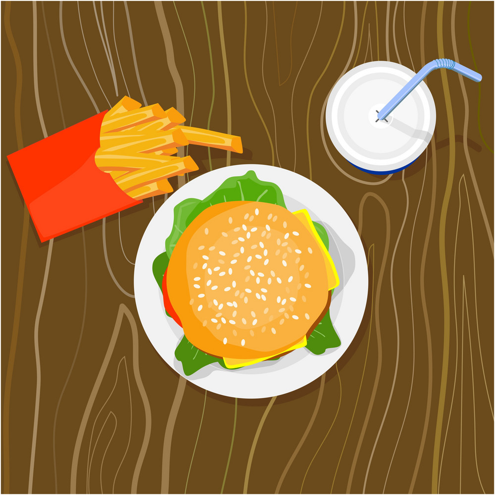 Burger Fries Drink Retro