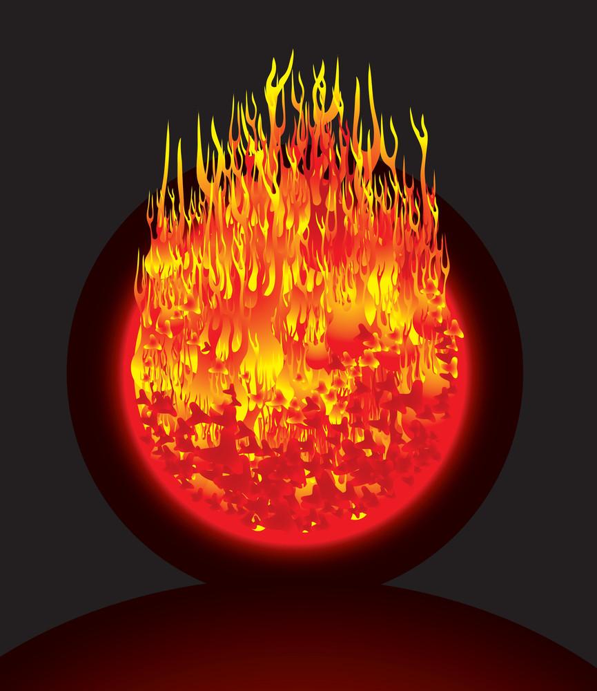 Burning Planet. Vector.