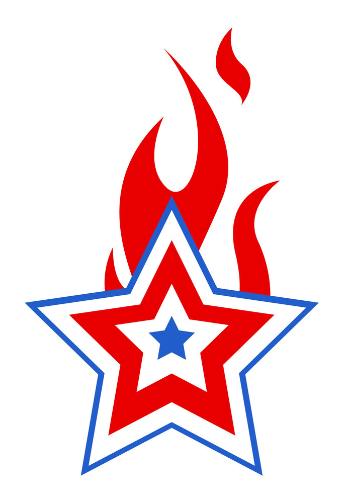 Burning Usa Patriotic Star 4th Of July Vector Illustration