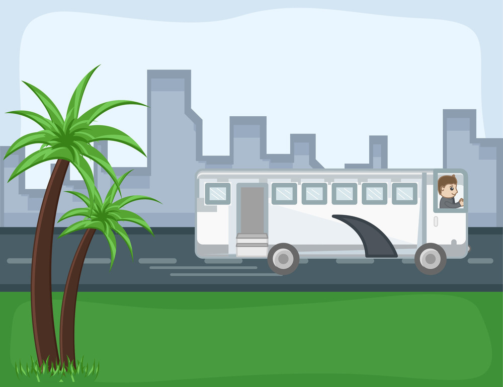Bus - - Cartoon Background Vector