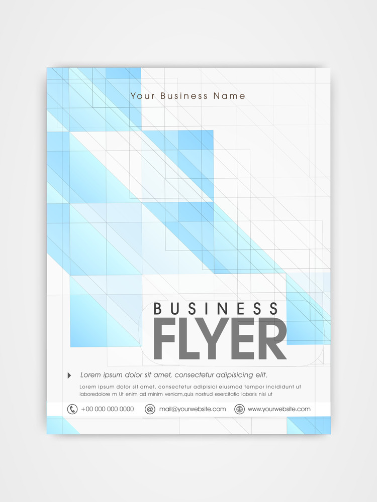 business flyer template or brochure design in blue and white color
