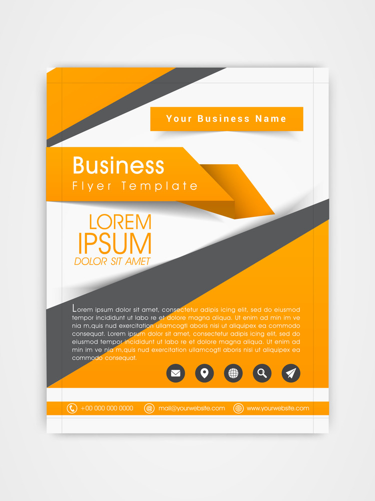 Business flyer template or brochure design with web icons for corporate purpose.
