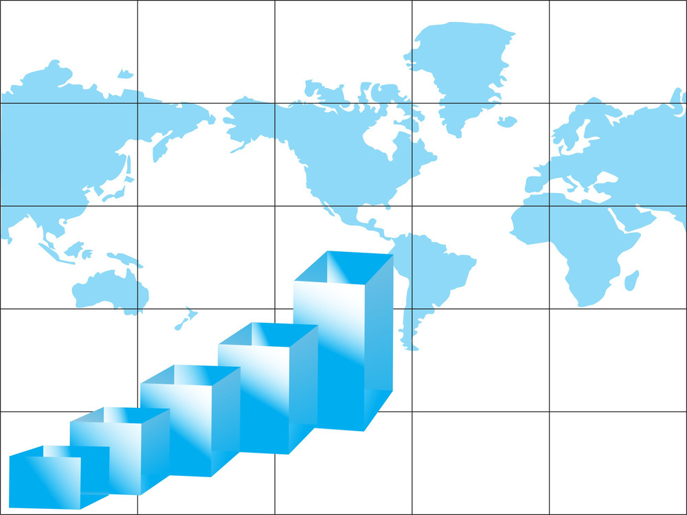 Business Graph And World Map Isolated On White
