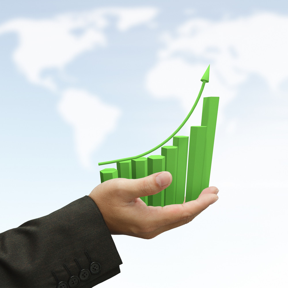 Business Hand Hold Rising Green Graph