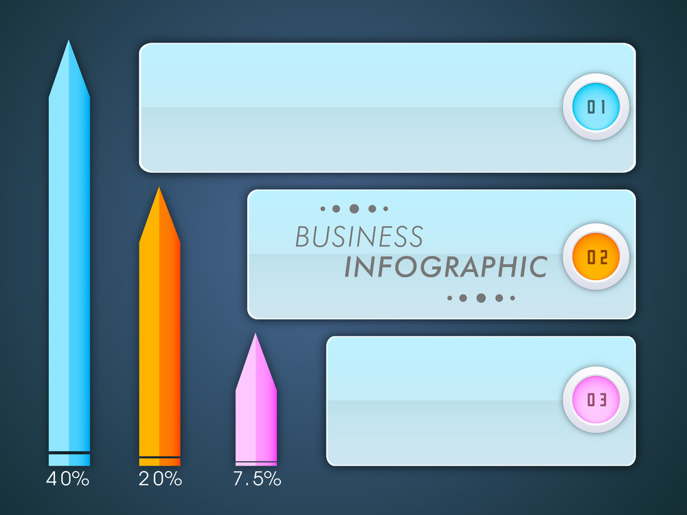 Business infographic layout with performance percentage scale on blue background.