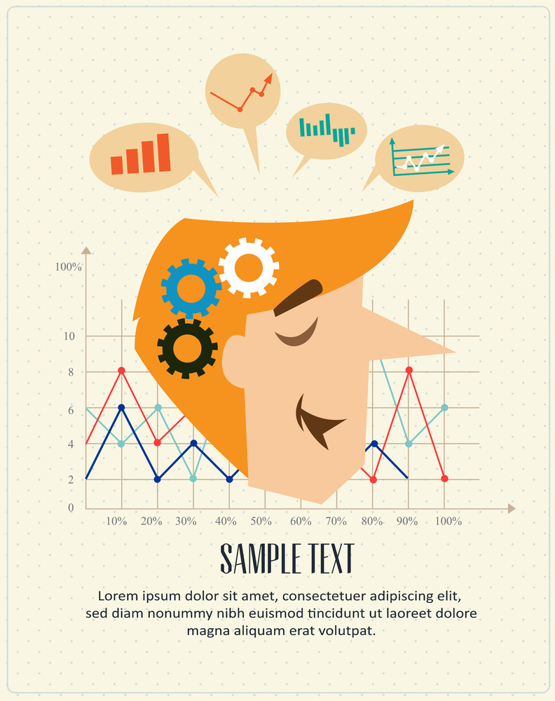 Business Man Graphs And Charts (editable Text)