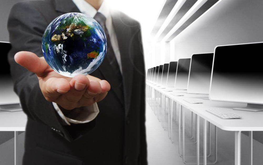 Business Man Hand Holds Globe