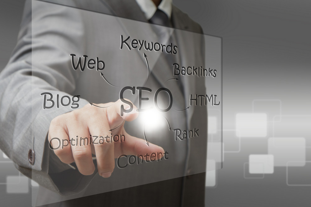 Business Man Hand Point On Seo Diagram Screen