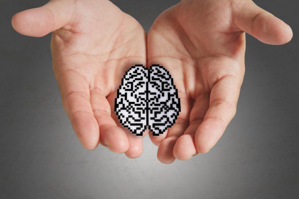 Business Man Hand Show Brain Sign