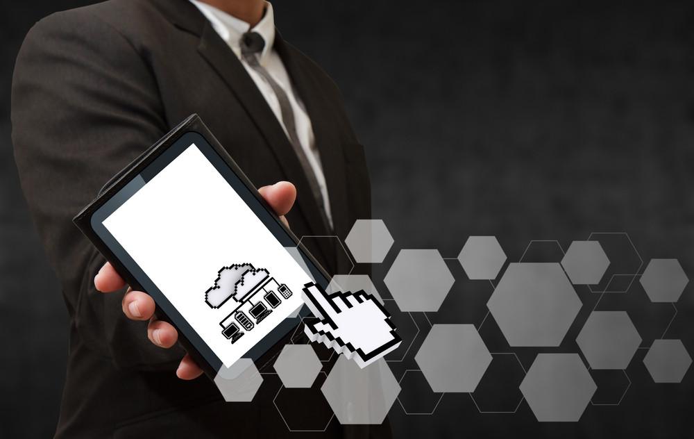 Business Man Hand Shows 3d Pixel Cloud Network