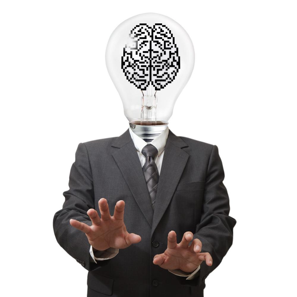 Business Man Light Bulb And Pixel Brain Sign
