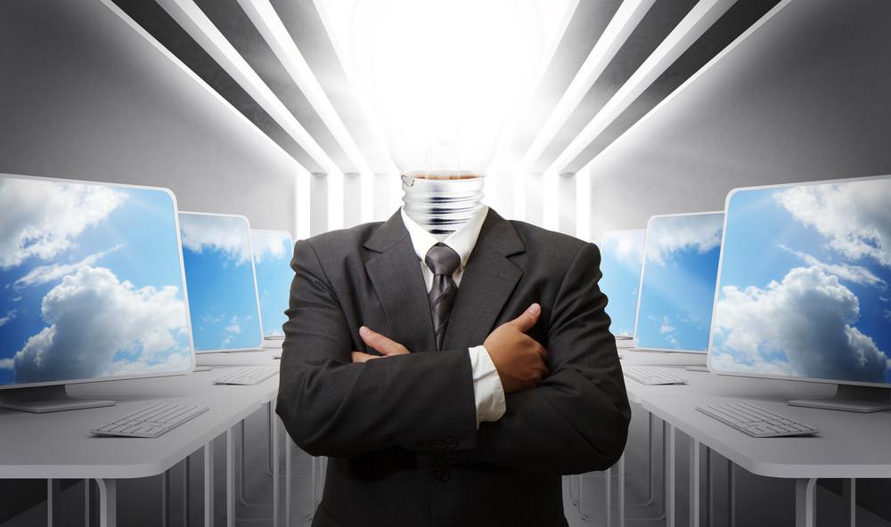 Business Man Light Bulb Head