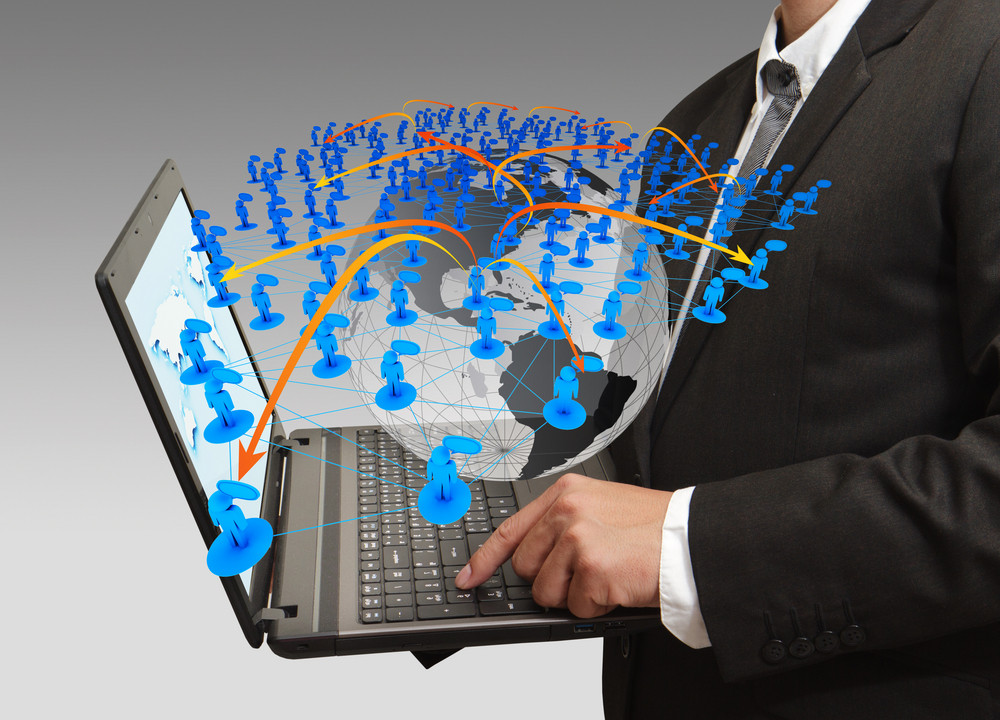 Business Man Pressing Computer Laptop And Social Network