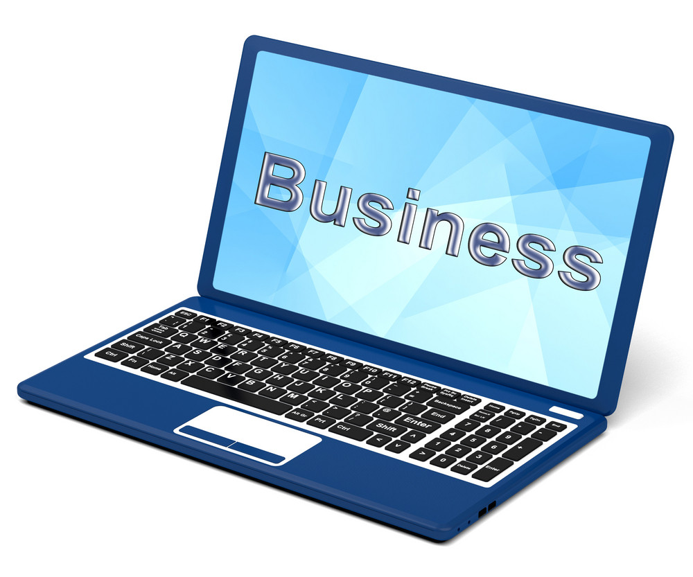 Business On Laptop Showing Commerce And Trade