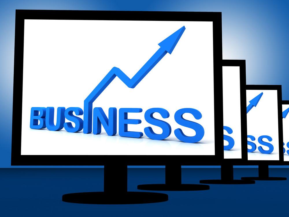 Business On Monitors Showing Corporate Progress