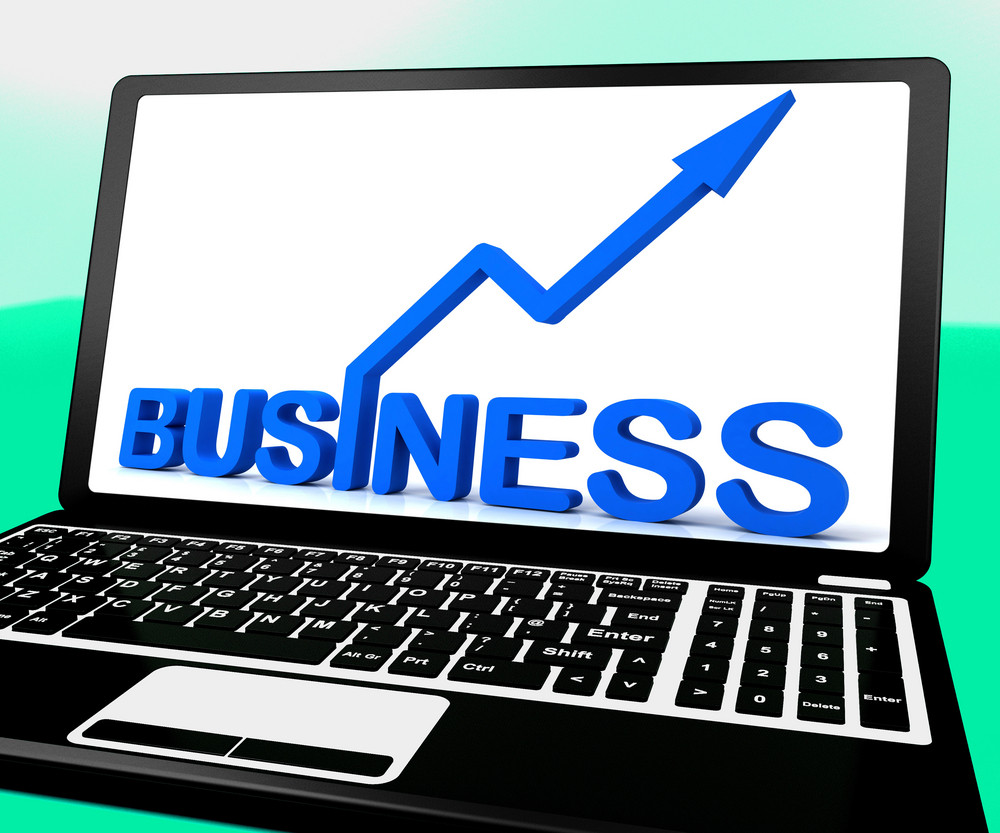 Business On Notebook Showing Commercial Activity