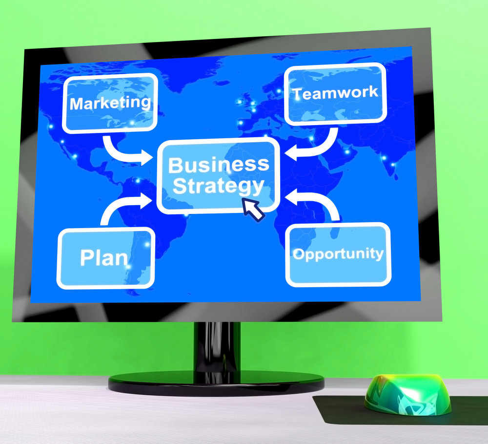 Business Strategy Diagram Showing Teamwork And Planning